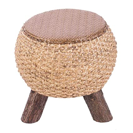 Marvelous Amazon Com Round Seat Stool Rattan Footstool Straw Coffee Gamerscity Chair Design For Home Gamerscityorg
