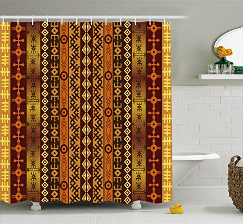 Ambesonne Tribal Shower Curtain, African Motif with Ethnic Effects and Traditional Cultural Folk Design, Fabric Bathroom Decor Set with Hooks, 84 Inches Extra Long, Orange Burgundy Gold