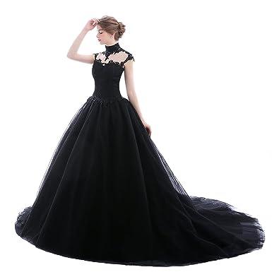 bfb3df838900 Ethel Women's Goth Style High Neck Ball Gown Bridal Prom Wedding Dresses  Black
