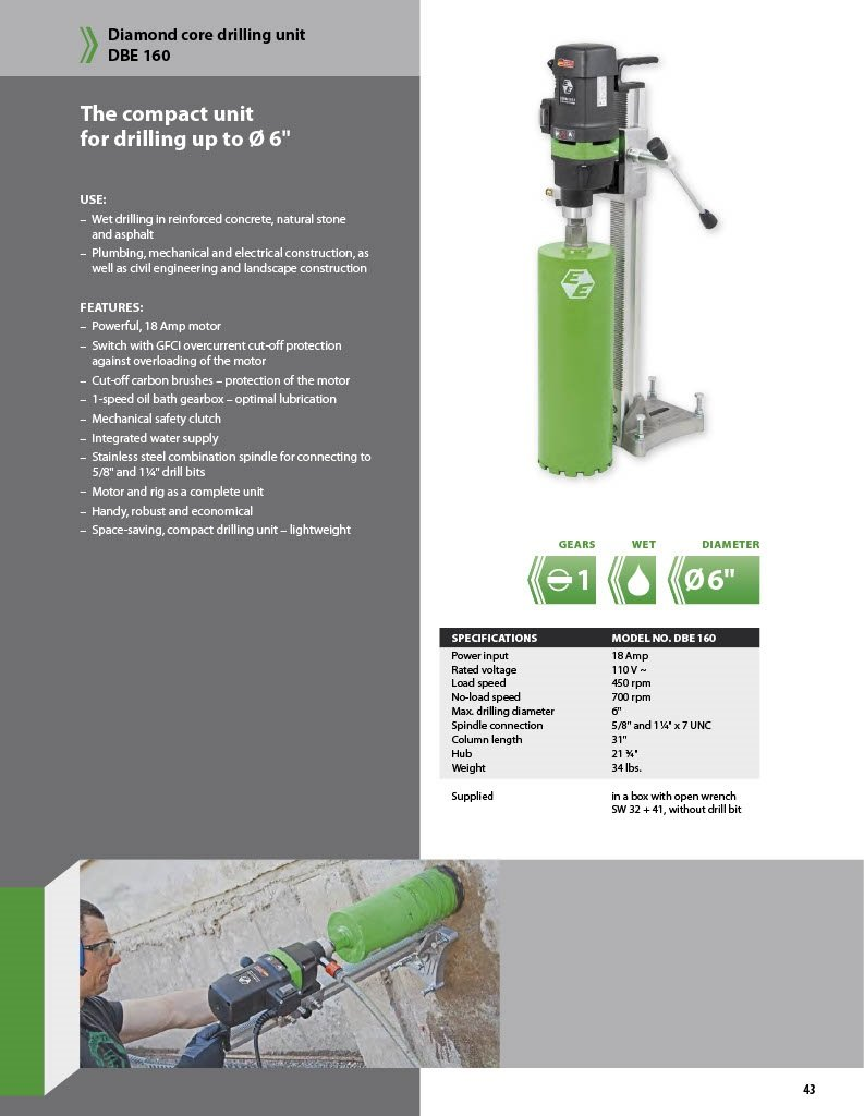 CS Unitec DBE 160 Compact Wet Diamond Core Drilling Rig, 18 Amp, for ...