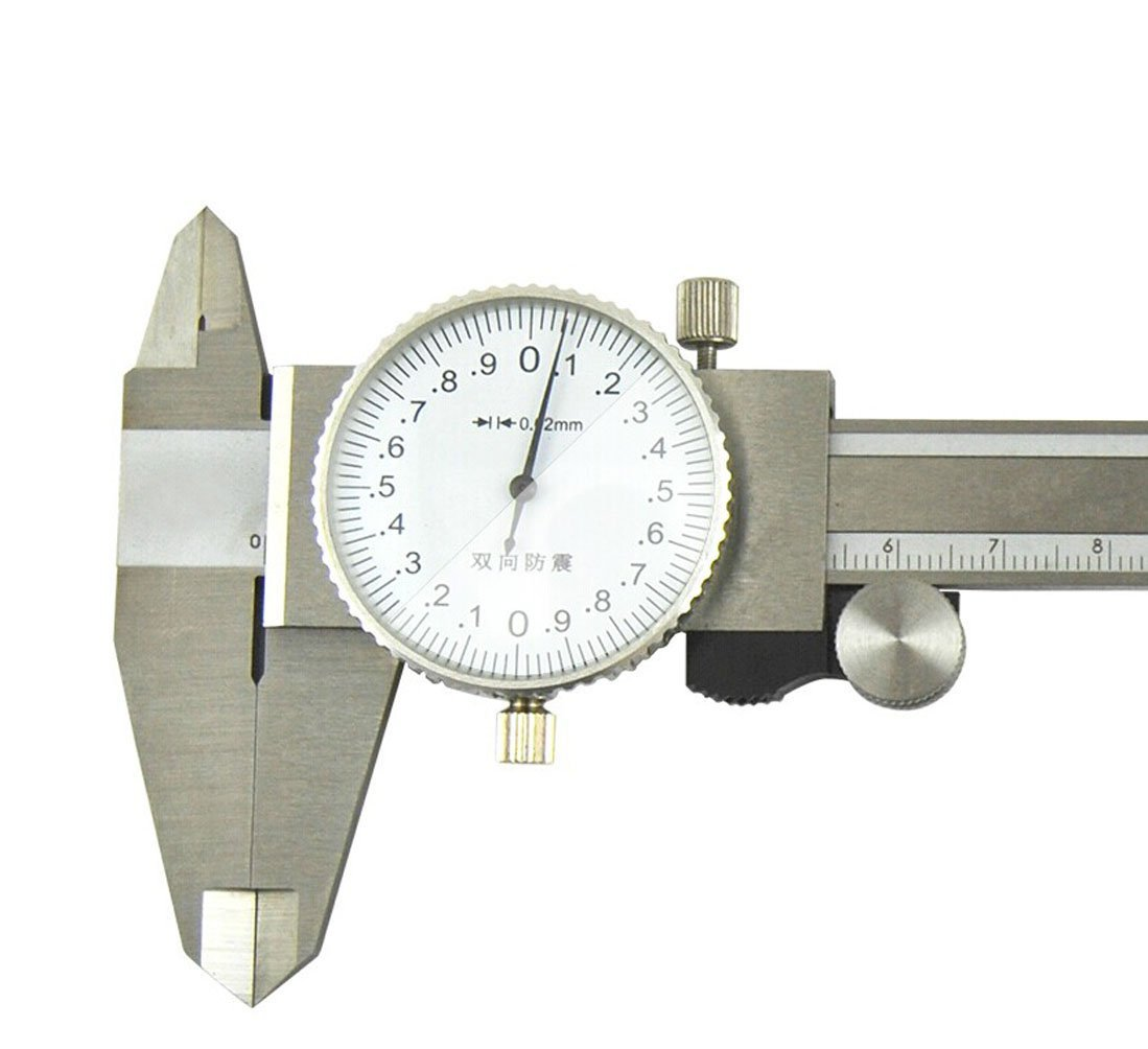 Arctic Star Dial Caliper, Stainless Steel, White Face, 0-150mm Range, +/-0.02mm Accuracy