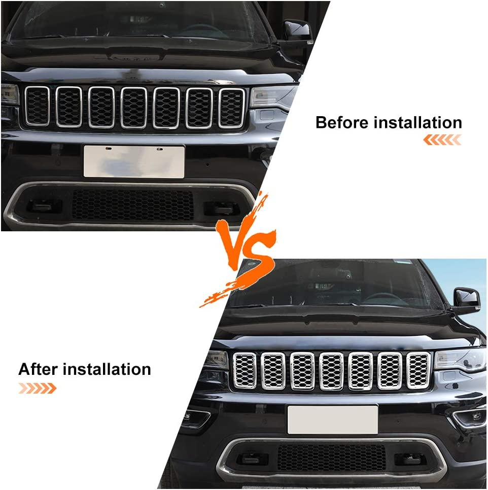 Chrome JeCar Grille Inserts ABS Mesh Honeycomb Grill Cover Trim Kit for 2017-2019 Jeep Grand Cherokee WK2