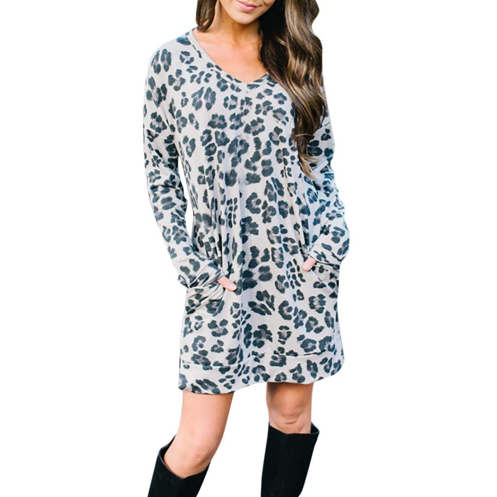 Hanican Plus Size Casual Women Leopard Print Dresses Long Sleeve Crew Neck Party Mini Dress Pockets
