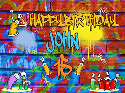 Custom Home Décor Graffiti Birthday Banner - Size 24x36, 48x24, 48x36; Personalized hip hop, Graffiti Brick Party, 90s party, Spray Paint Birthday Banner Wall Décor, Handmade Party Supply Poster (Party City Birthday Banners)