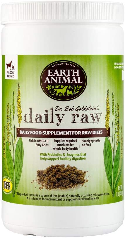 Earth Animal Daily Raw Food Nutritional Supplement for Raw & Home-Cooked Diets for Dogs & Cats, 1 lb. Container