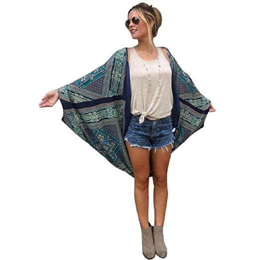 e361c412147 Lookatool Women Ethnic Lace Flower Loose Kimono Cardigan Jacket Blouse Tops  ( As The Picture