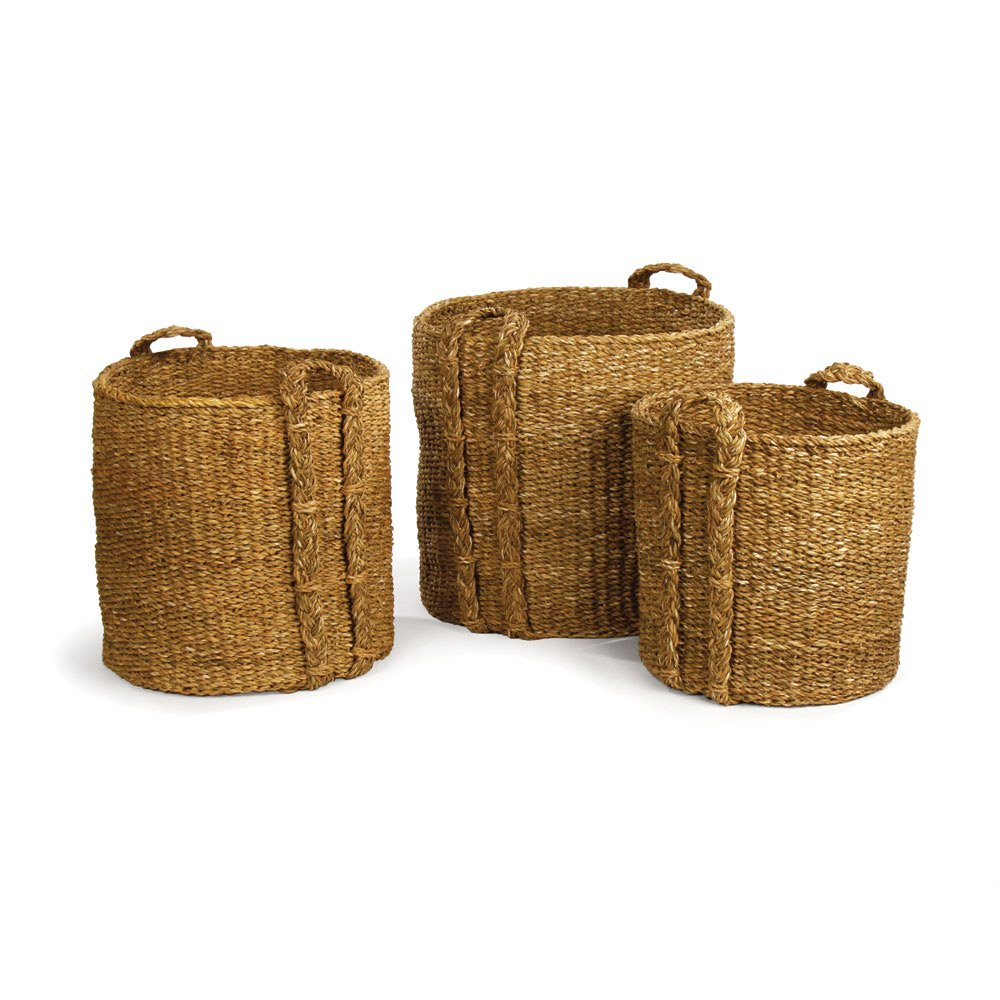 Porch & Petal Seagrass Round Baskets Large, Set of 3