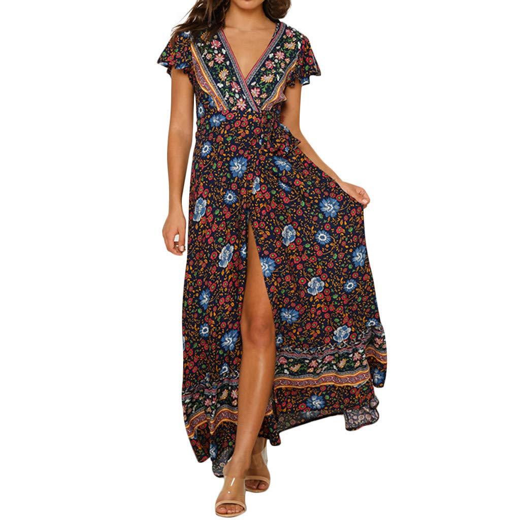 Goosuny Damen Lange Kleider Sommerkleid Boho Kurzarm Blumenkleider Sexy V-Ausschnitt Hohe Taille Strandkleid Seitenschlitz Maxikleid Mode Frauen Sommer Festlich Partykleider