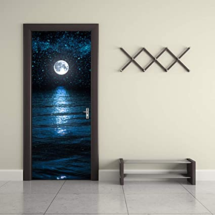 3D Etiqueta De La Puerta Murales Paredpaper Moon&Stars Mismo-Adhesivo Adhesivo De Pared Vinilo Movible Puerta Mural Pared Etiqueta para La Decoración Casera-Dormitorio 77x200cm(30.3x78.7inch): Amazon.es: Hogar