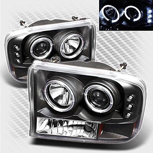 Xtune 1999-2004 F250 / F350 / F450 / F550 Black Housing Twin Halo LED Projector Headlights Pair L+R 2000 2001 2002 2003