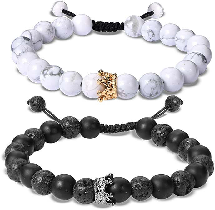 UEUC Distance Couple Bracelet avec CZ Crown King /& Queen Noir Mat Agate /& White howlite 8 mm Bracelet Perles