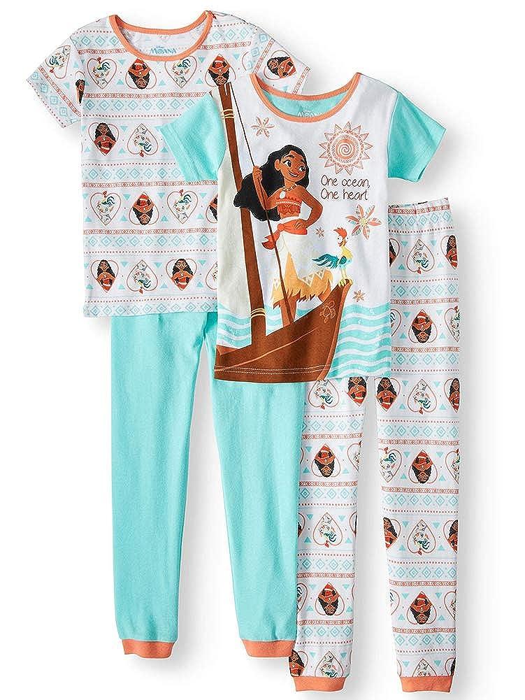Disney Moana One Ocean Big Girls 4pc Cotton Pajama Set