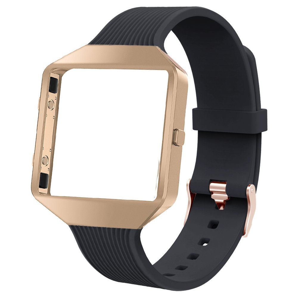 TOYOUTHS Compatible Fitbit Blaze Band, Sports Silicone Replacement Strap Rose Gold Metal Frame