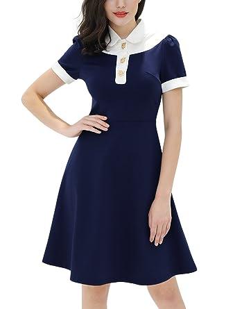 4df50df00a20a Miusol Women's Retro Polo Neck Navy Style Contrast Party A-Line Dress,Navy  Blue