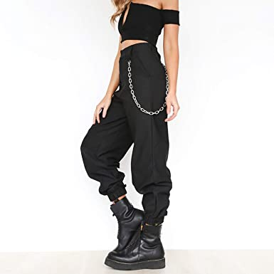 f204404f304 Joyhul Women s Chains High Waist Casual Loose Hip Hop Pant Streetwear with  Pockets Solid 2018 Autumn Female Trousers at Amazon Women s Clothing store