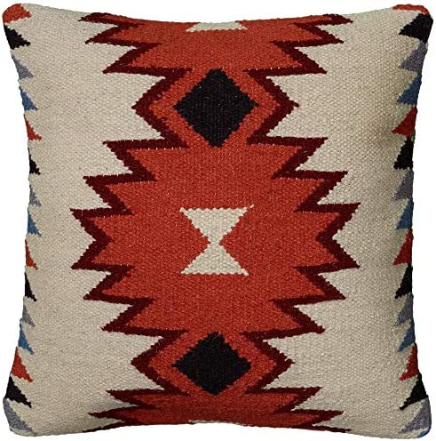 Rizzy Home T05821 Decorative Pillow, 18 X18 , Neutral Black Orange