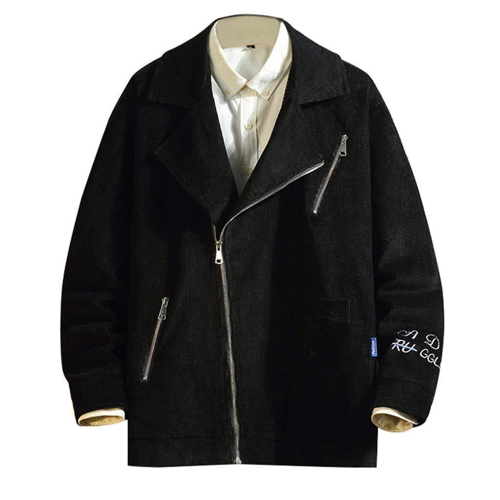 TIFENNY Jackets for Men Winter Fashion Sweatshirt Corduroy Long Sleeve Coat Lapel Oblique Collar Zip Outwear by TIFENNY_Shirts