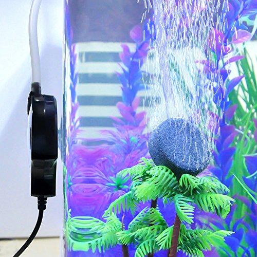 Mylivell Quietest Aquarium Air Pump Ultra Silent High Energy Saving Oxygen Air Pump Aquarium for Fish Tank with Air Stone and Silicone Tube Black