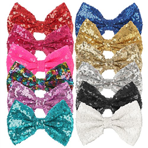 12pcs 5inch Sequins Hair Bows for Girls Bling Sparkle Glitter Bows with Alligator Clip Children Hairpins Hair Accessories (5in sequins - Inch 5 Sequins