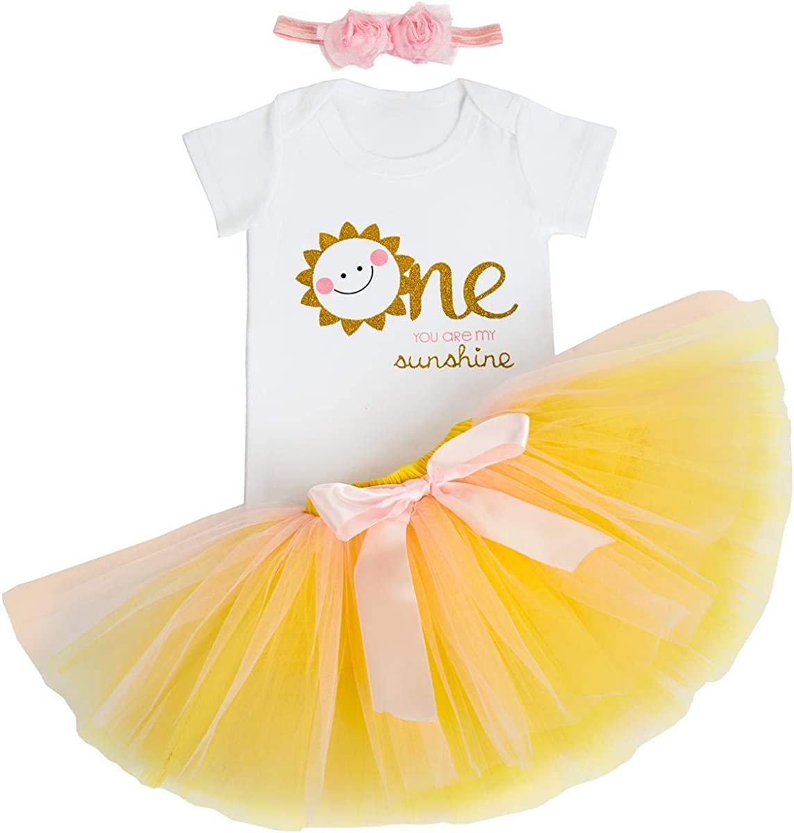 FYMNSI Toddler Kids Baby Girl 1st Birthday Cake Smash Outfit Floral One Short Sleeve Romper Fancy Tutu Skirt Bow Headband First Birthday Party Clothes Photo Props 3pcs Set