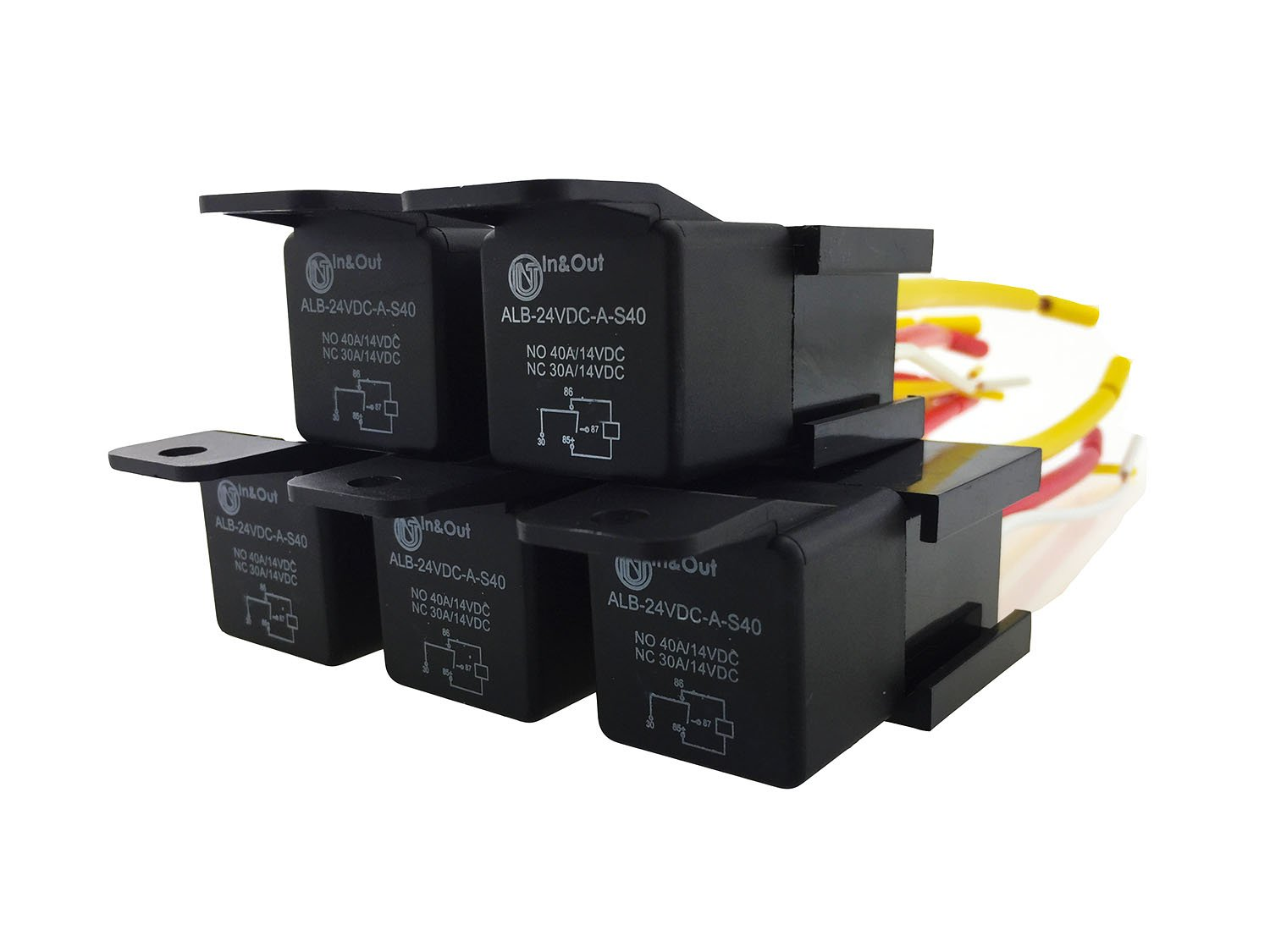 IZTOSS 4 Pin Car Auto Relay 24v 30A/40A with Bosch Style S Relay Harness Socket 5-Pack