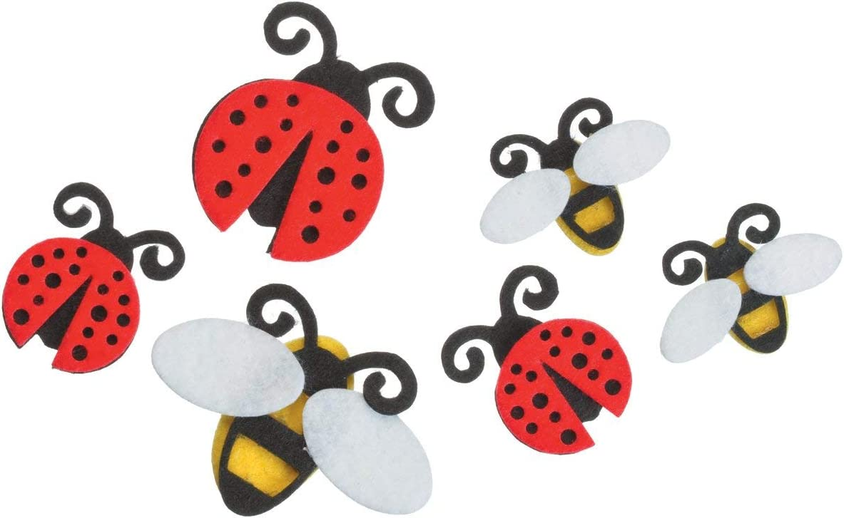 Darice Felties Stickers 18//Pkg-Ladybugs /& Bees FLT-1005