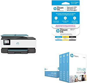 HP OfficeJet Pro 8035 All-in-One Wireless Printer – Oasis (3UC66A) with Instant Ink 5 Dollar Prepaid Card and HP Office20 Paper