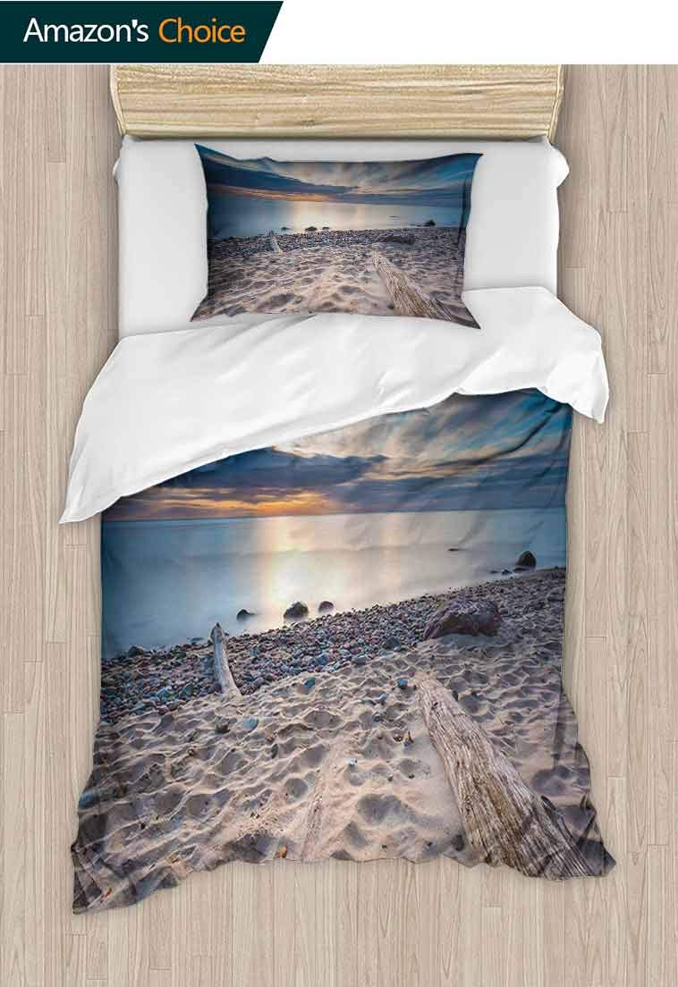Driftwood DIY Quilt Cover and Pillowcase Set, Seascape Theme Rocky Sea Shore with Driftwood Trees Trunks Cloudy Sky Image, 2 Piece Bedding Quilt Coverlets - 100% Cotton Bed Quilts Coverlet