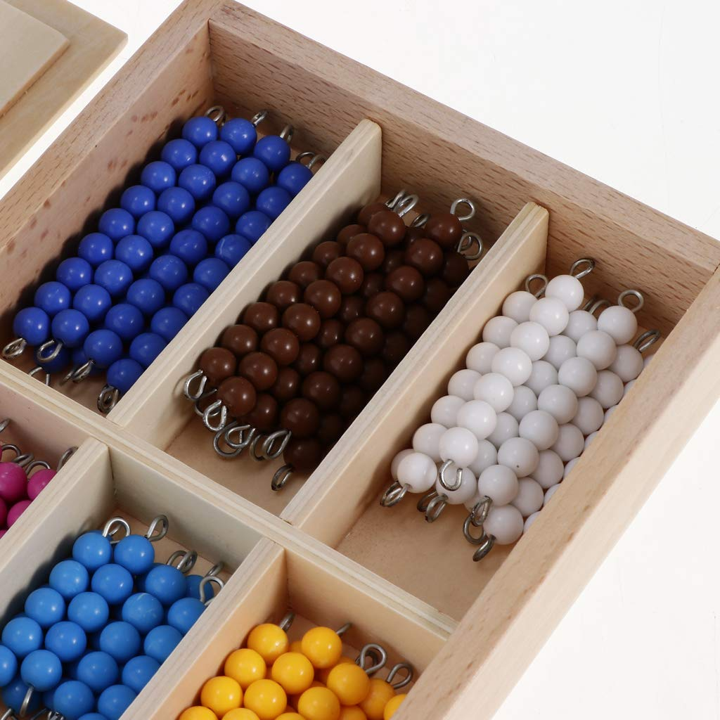 Toygogo 2 Sets Wooden Montessori Math Education Materials Toy Counting Bead 1-10 Bead Stair with Box /& Sticks Rods with Box