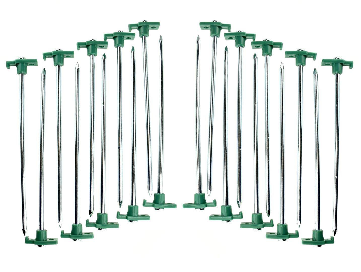 SE 9NRC10-20 Heavy-Duty Metal Tent Pegs Stake Set (20-Pack) by SE