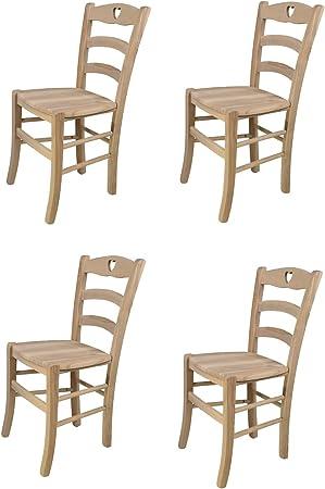 tmcs Tommychairs Set 4 sedie Classiche Cuore per Cucina Bar e Sala da Pranzo, Robusta Struttura in Legno di faggio Levigato, Non trattato, 100%