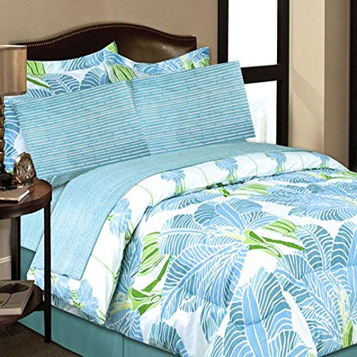 COASTAL PARADISE BLUE TROPICAL PALM TREE LEAVES 8pc Comforter Bed In A Bag Set