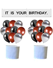 It is Your Birthday. Banner The Office Birthday Decoration Brown Black Silver Balloons White Crepe Streamers Dwight Birthday Banner Set Decorations