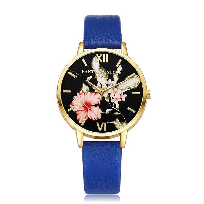 DressLksnf_Reloj Vintage Moda para Mujer Durable Brazalete de Reloj Bonito Cadena de Cuero Superficie de Estampado Floral Popular Pulsera del Reloj Metal ...