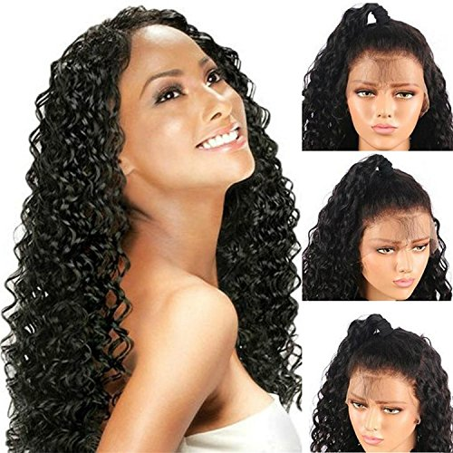 #1B Curly Hair Lace Front Wigs Glueless Synthetic Heat Resistant Simulation Hair Half Hand Tied Wigs for Women20