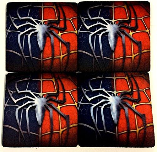 Spiderman Super Hero Wedding Favor 4 Drink Bar Coaster Set Gift COA-0103 ()