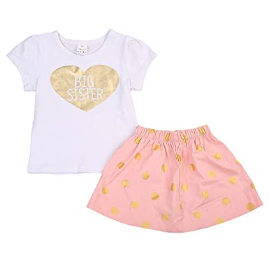7b6925c6625 Amazon.com  MaBaby Newborn Baby Girl Outfits Big Sister Dress+T-Shirt Little  Sister Romper Jumpsuit Clothes  Clothing