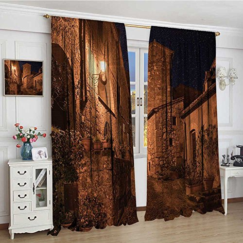 Copper Roman Tub - smallbeefly Ancient Patterned Drape For Glass Door Street of Aged Antique Tuff City with Stone Houses Roman Cityscape Illuminated Art Photo Decor Curtains By 108
