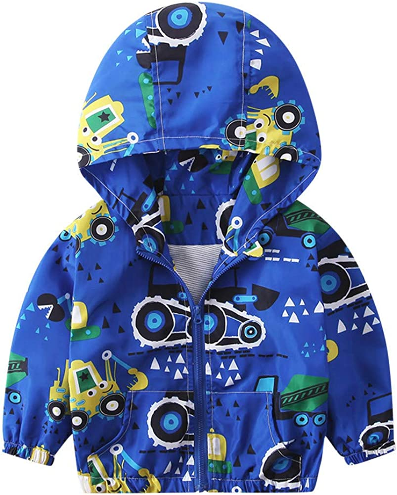 AMSKY Clearance Sale Loverly Children Baby Coats Hooded Jacket Outerwear Excavator Hoodie Windbreaker Clothes