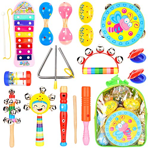 Amagoing Toddler Musical Instruments, Wooden Percussion Instruments Toy Activity Center for Preschool Educational, Musical Toys Set for Boys and Girls with Storage Backpack