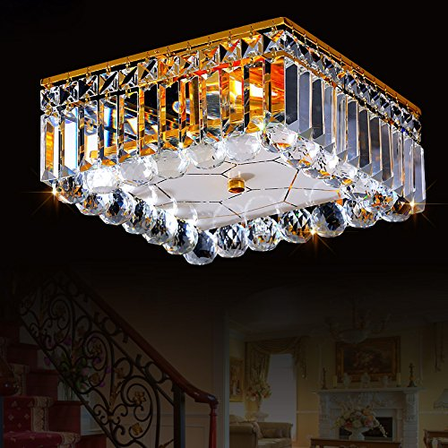 Luxury Spectacular Square Crystal Flush Mount Ceiling Fixture Light 5-Star Hotel Chandelier