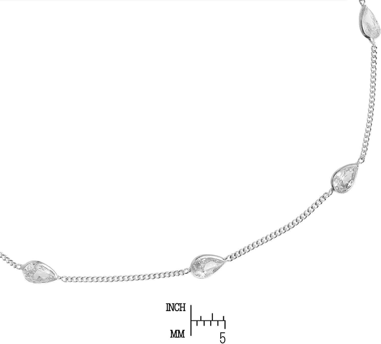 AeraVida Classy Teardrop White Cubic Zirconia .925 Sterling Silver Link Anklet