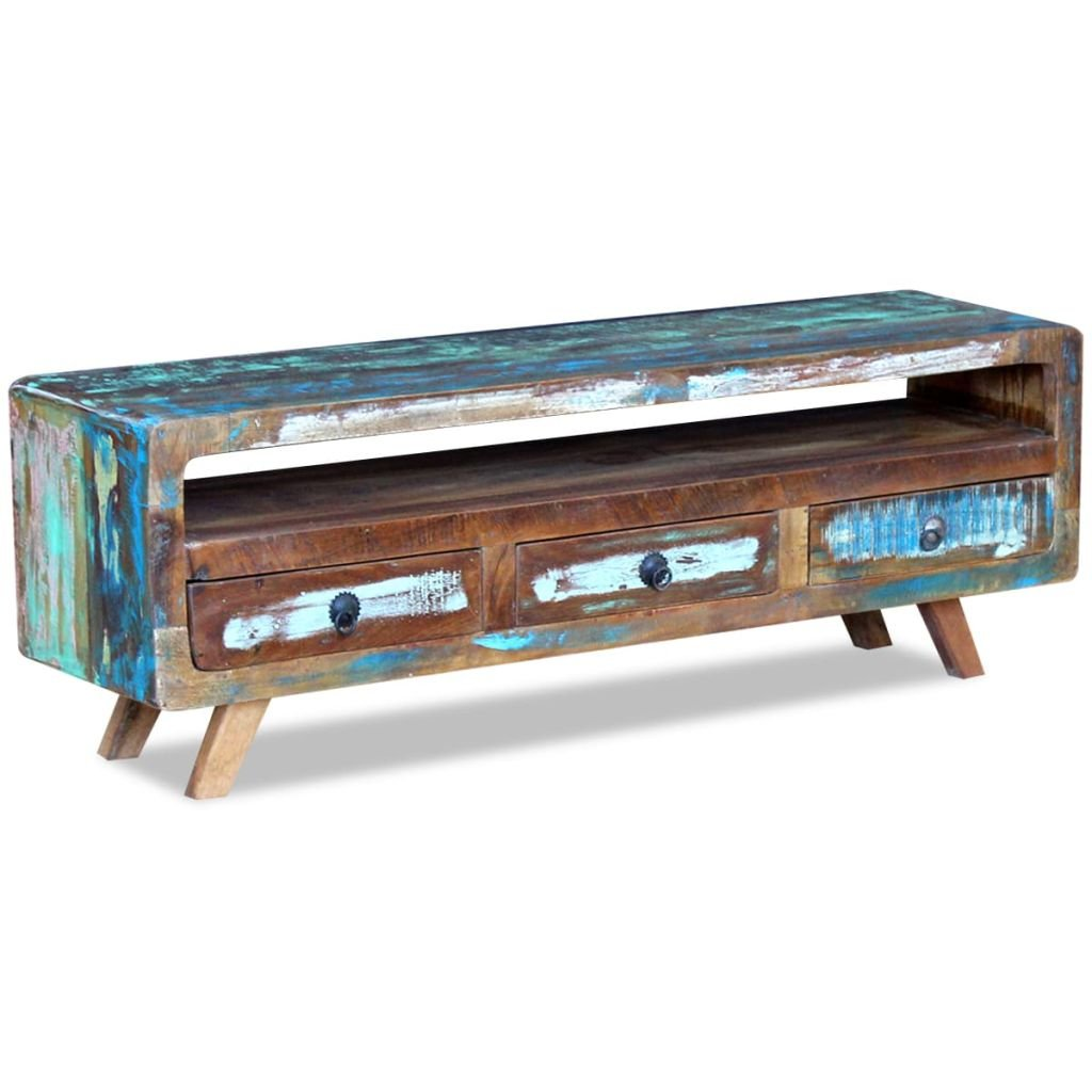 Festnight Vintage TV Cabinet Stand Unit 3 Drawers Solid Reclaimed Wood 120 x 30 x 40 cm