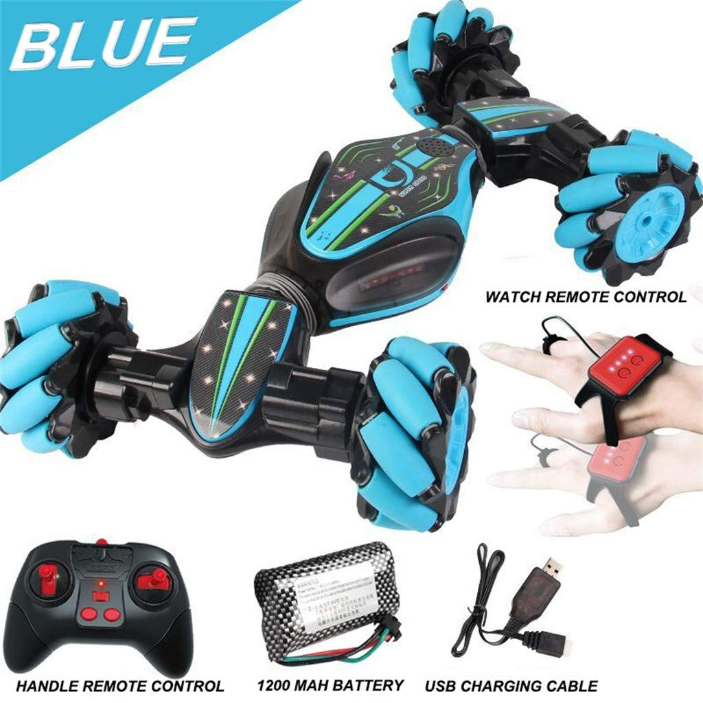 FunDiscount Remote Control Car Electric Stunt RC Car, 360°Rotating Off Road Vehicle Watch Gesture Sensing Twisting Kids Toy Cars 2.4Ghz Racing Cars - Children Birthday for Boys (Blue) by FunDiscount shop