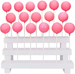 Cake Pop Stand Display Riser - 3 Tier Wood Lollipop Holder, 17 Hole Sucker Stand for Dessert Table of Wedding, Birthday Party - White, Collapsible, Fit 5/32