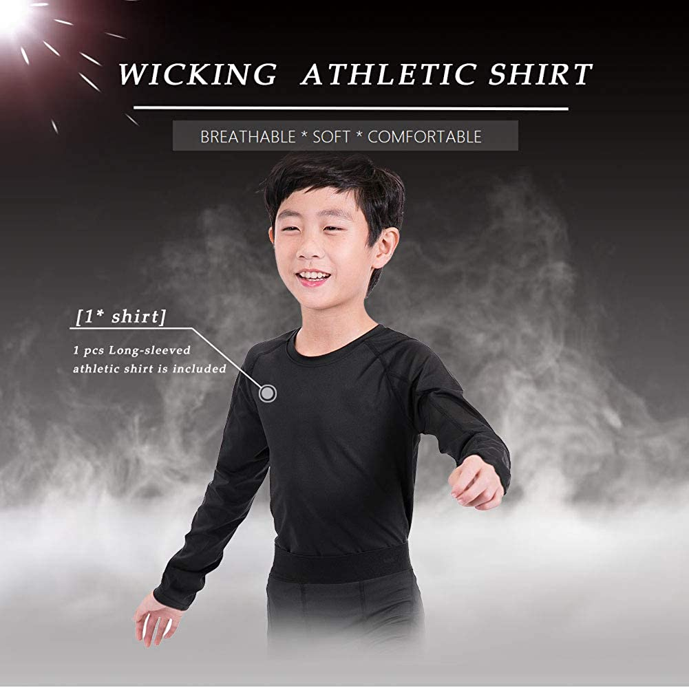 ZDCGT Boys Long-Sleeved Athletic Shirts Moisture Wicking Base Layer Compression Tops