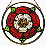 Decorative Hand Painted Stained Glass Window Sun Catcher/Roundel in an Elizabethan Tudor Rose Design.