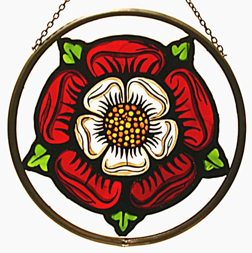 Decorative Hand Painted Stained Glass Window Sun Catcher/Roundel in an Elizabethan Tudor Rose Design. TudorRoseElizround