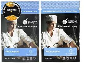 Sodium Alginate + Calcium Chloride Value Pack ⊘ Non-GMO ☮ Vegan ✡ OU Kosher Certified - 100g/4oz (Bundle with 2 items)
