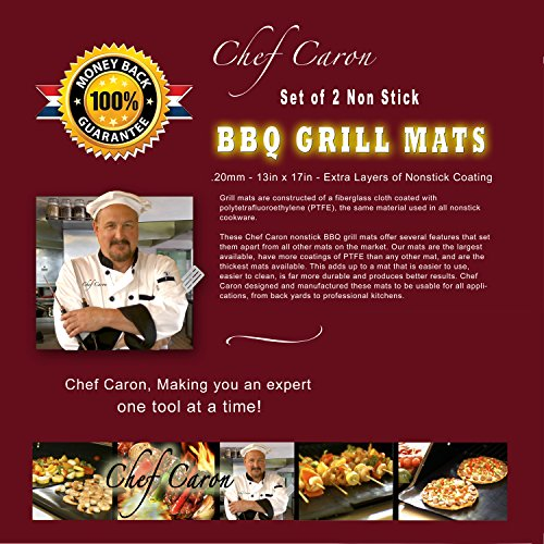 Chef Caron non stick bbq grill mats - set of 2 - for gas, charcoal, pellet grills - magic mat as seen on tv - large professional cooking mat - keep your barbecue grate clean by Chef Caron